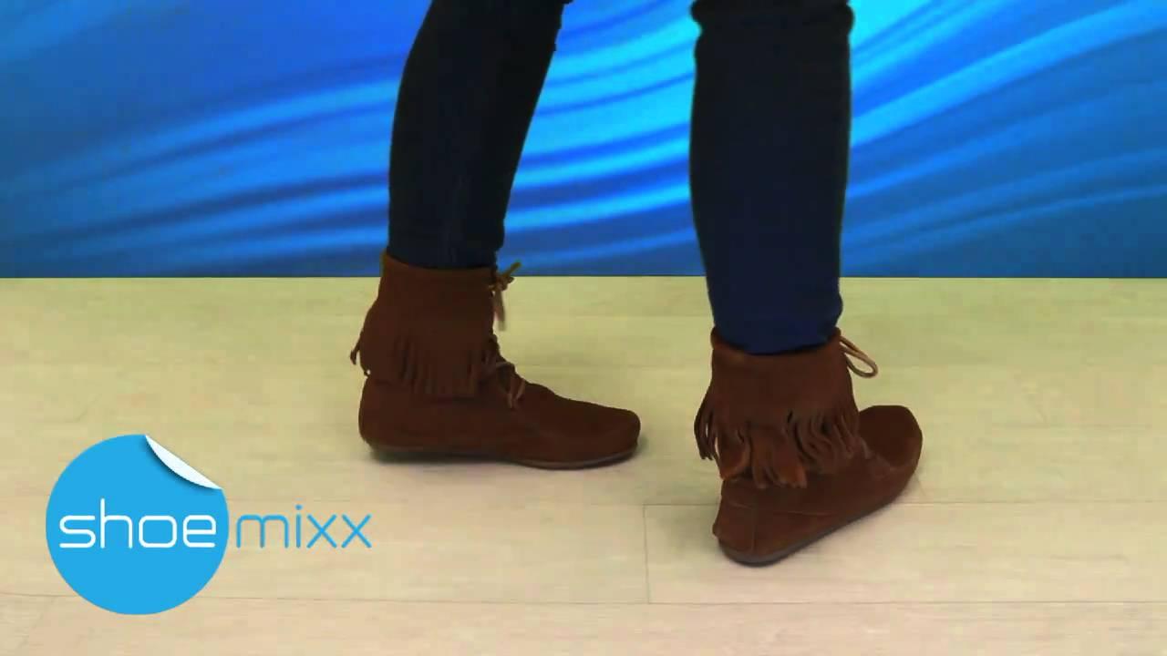 MINNETONKA Tramper Ankle Hi Boot 422 - Brown Suede - YouTube