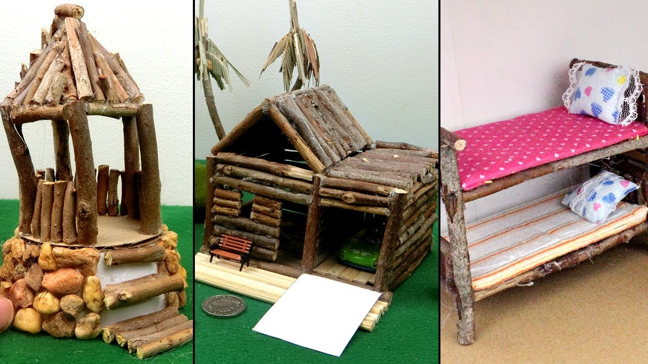 3 Easy Wooden Crafts From Tree Branch Miniature Hut Bunk Bed