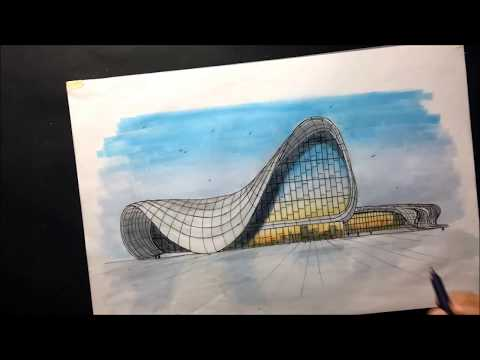 Architectural sketching of Heydar Aliyev Center (Zaha Hadid)  with markers