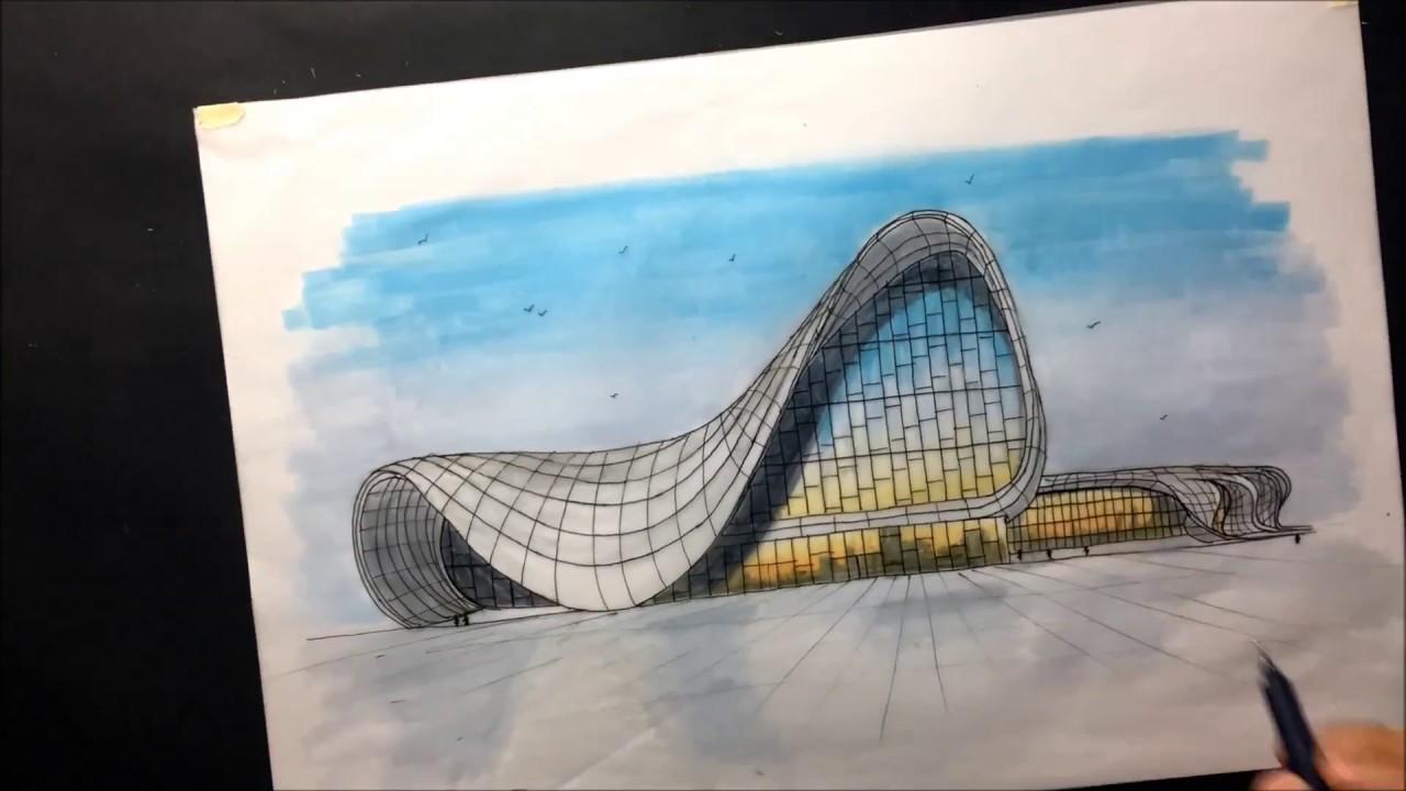Boceto Arquitectonico Heydar Aliyev Center Zaha Hadid Con Marcadores Architectural Sketching Youtube