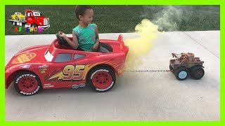 Unboxing Playing The Disney Cars 3 Max Tow Mater Pulling Power Wheel Lightning McQueen Jeep Wrangler