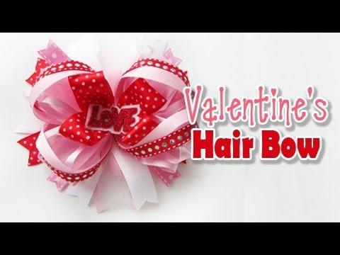 valentine's hair bow tutorial