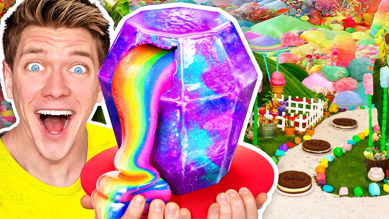 10,000 Pounds of Candy Turned Into Candyland - DIY Art Challenge in Real Life for 24 Hours