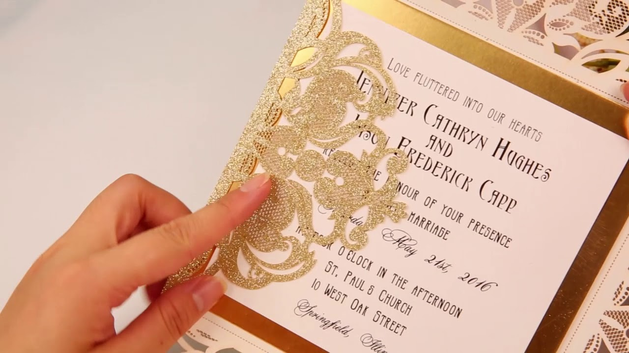 Elegant And Luxury Pale Gold Glitter Wedding Invitations With