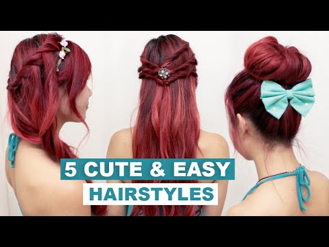 easy up styles for long hair 5 amp easy hairstyles for medium hair l 5072 | hqdefault