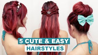 5 Quick & Easy Hairstyles for Medium Long Hair l Cute Everyday Hairstyles for School & Work