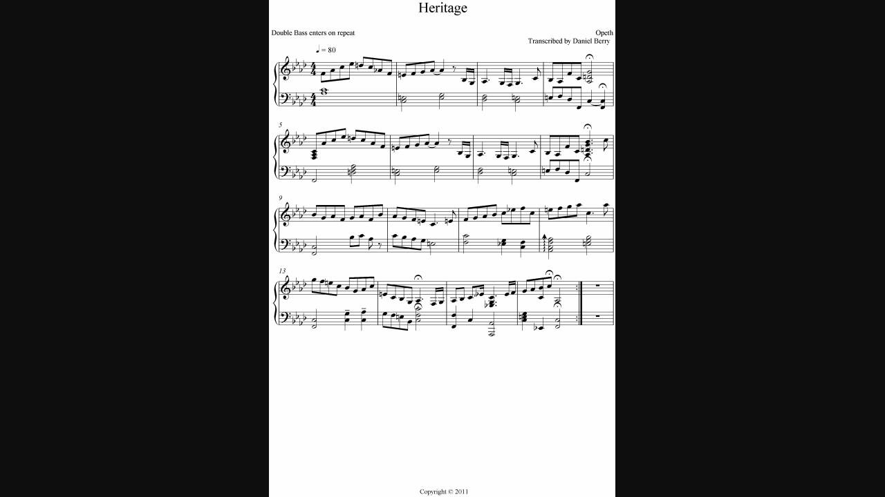 Opeth Heritage Piano Cover Youtube