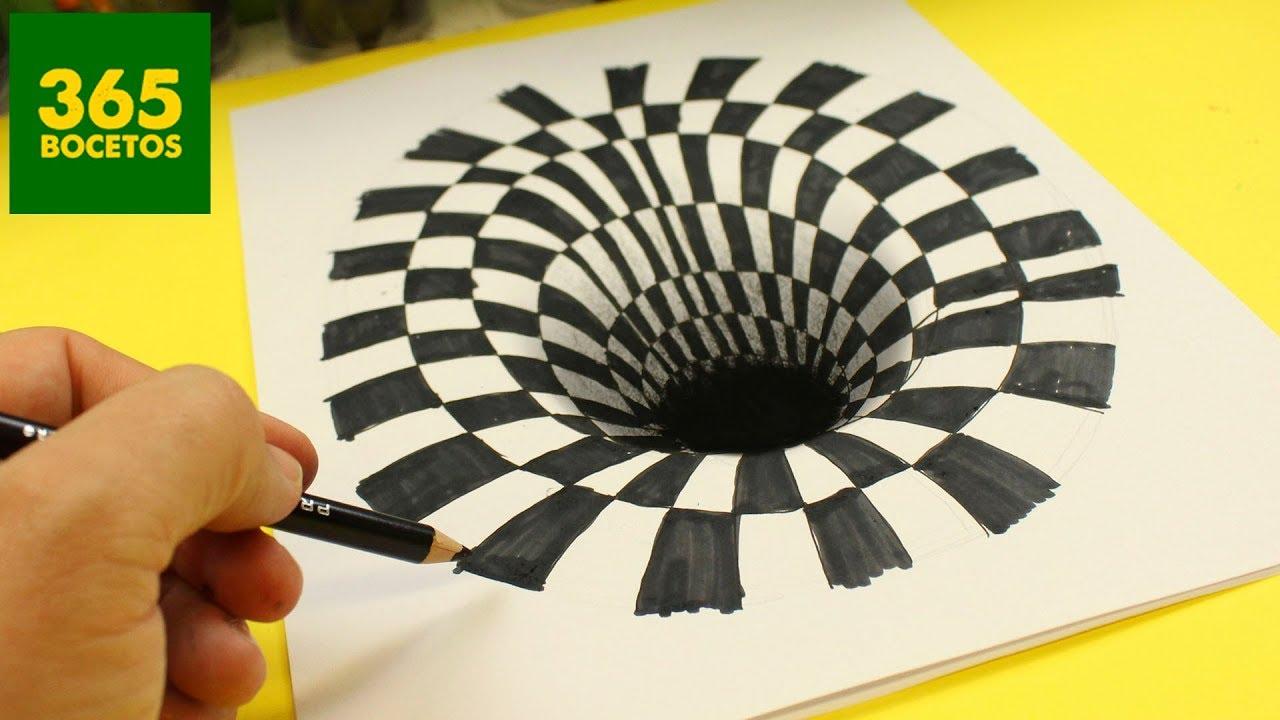 Increible truco como dibujar un hoyo en 3d paso a paso how to draw a 3d hole youtube - Illusion optique dessin ...