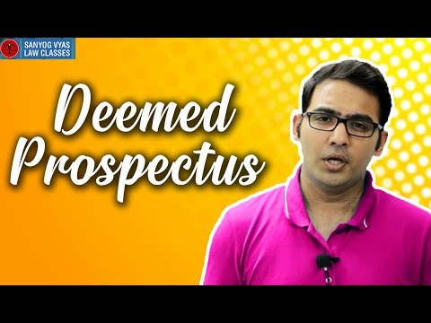Deemed Prospectus explained by Advocate Sanyog Vyas
