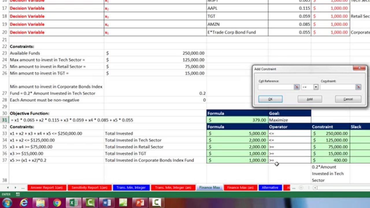 basic excel business analytics 62 excel solver maximize portfolio