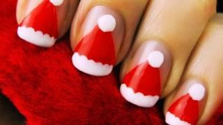 Easy Santa Hat Nail Art