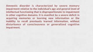 Amnestic disorder ICD11