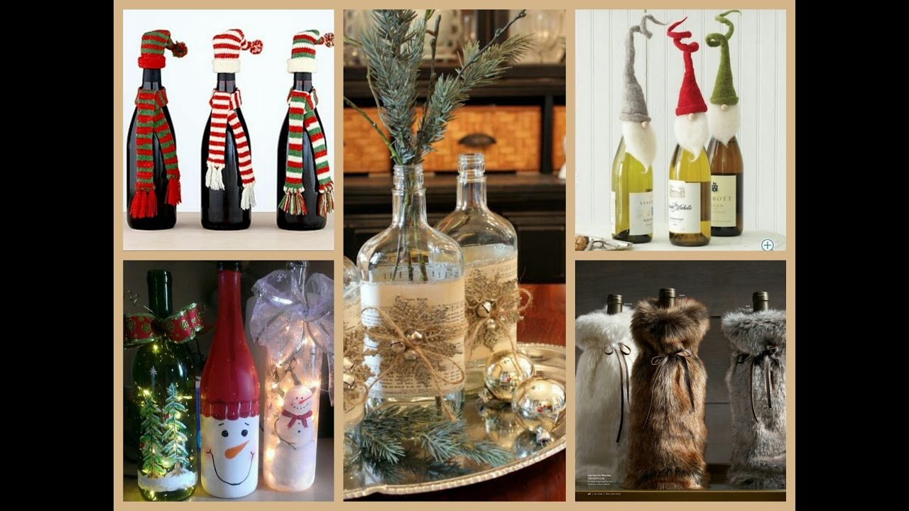 50 christmas bottle decorating ideas - Christmas Wine Bottle Decorations