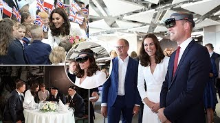 Kate gets the giggles as William dons a VR headset in Poland