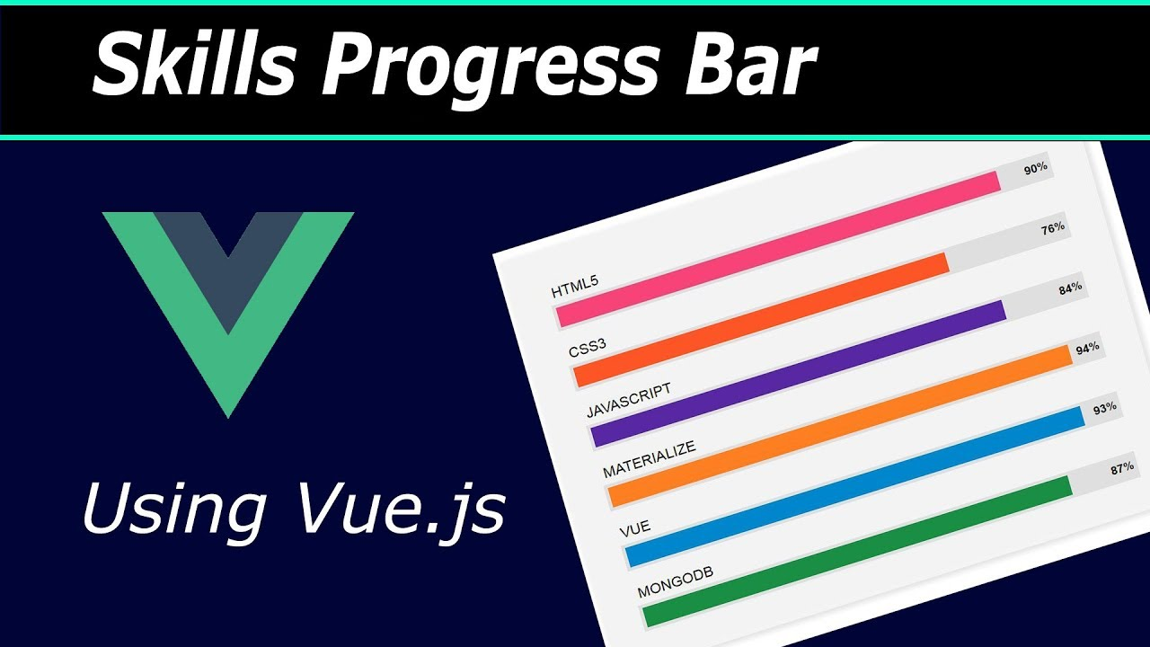 Skills Progress Bar using Vue js (html, css and vue js)