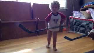 Ellen Here's My Talent!!! 2 year old Kingston playing hockey...look out Sid the Kid!!!