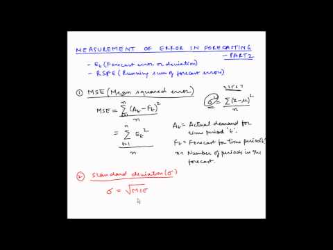 Forecasting - Measurement of Forecasting error - Part 2