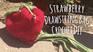 Strawberry Drawstring Bag Crochet DIY // Mad Little Crafter // Tutorial