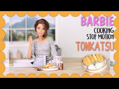 Barbie stop motion - Tonkatsu (Pork cutlet) Miniature Cooking