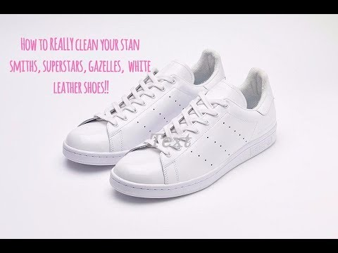 How to REALLY clean your stan smiths, superstars, gazelles, white leather shoes!! Abby Hunter