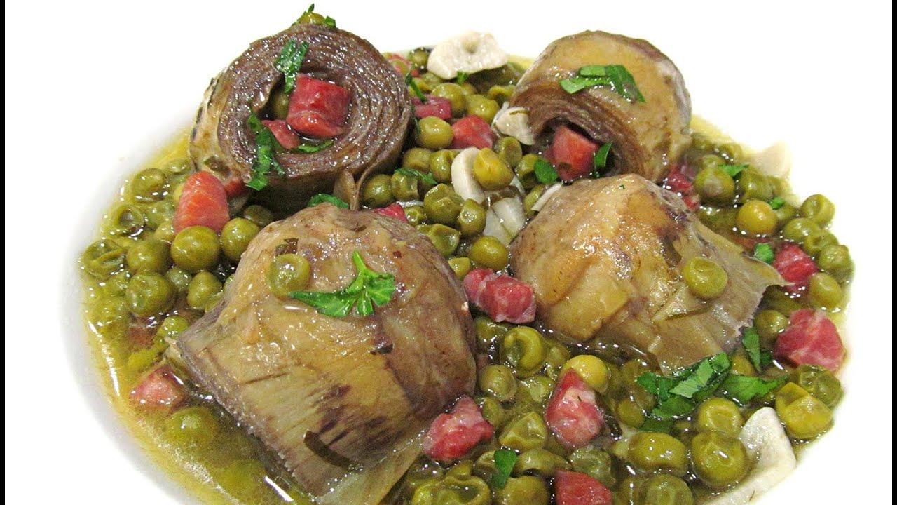 Cocinar Alcachofas Congeladas | Alcachofas Con Jamon Y Guisantes Youtube