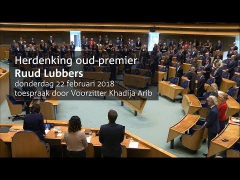 Tweede Kamer herdenkt oud-premier Ruud Lubbers