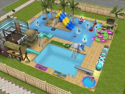 The sims freeplay pools lazy river tiki bar youtube for Pool designs sims 4