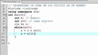 PROGRAMA C++ | Suma de los dígitos de un número
