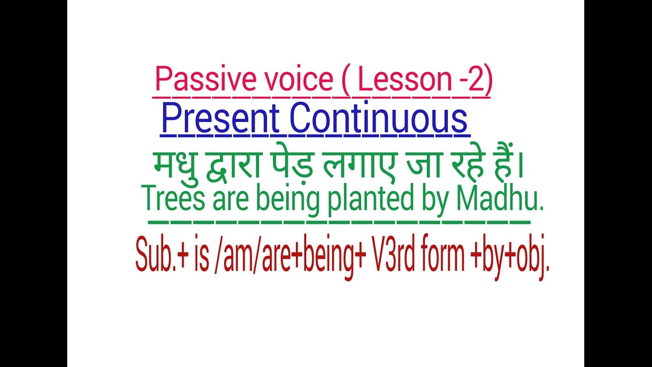 PASSIVE VOICE - PRESENT CONTINUOUS TENSE IN ENGLISH GRAMMAR THROUGH HINDI