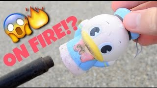 Lighting a squishy ON FIRE?! | SQUISHY DARES!