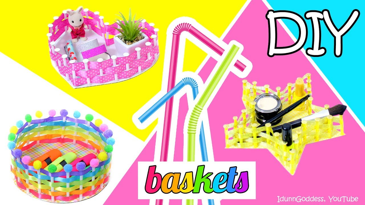 How To Make Star, Heart and Round Baskets Using Drinking Straws And ...