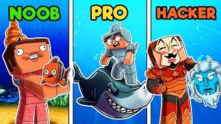 Minecraft - UNDERWATER WARRIOR CHALLENGE! (NOOB vs PRO vs HACKER)