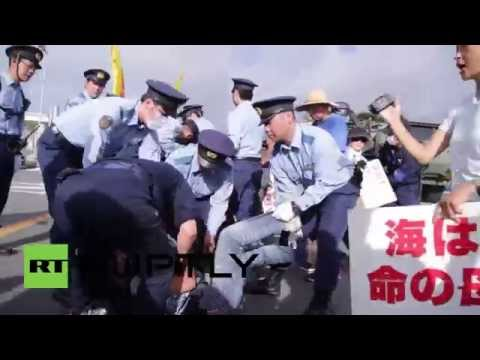 Japan: Police and anti-US military base protesters clash in Okinawa