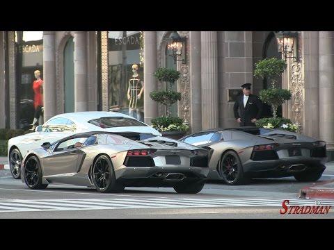 One Day of Supercars in Beverly Hillls:  Laferrari, P1, Bugatti Veyron, Lamborghini Aventador