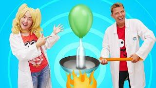 Веселые уроки, опыты и фокусы. Надуваем шарики на Физике! Интересное видео про блондинку на уроке!
