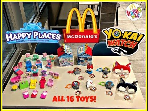 MCDONALDS Shopkins Happy Places! Yo-Kai Watch! Happy Meal Toys! Jan 2018! ALL 24 TOYS!