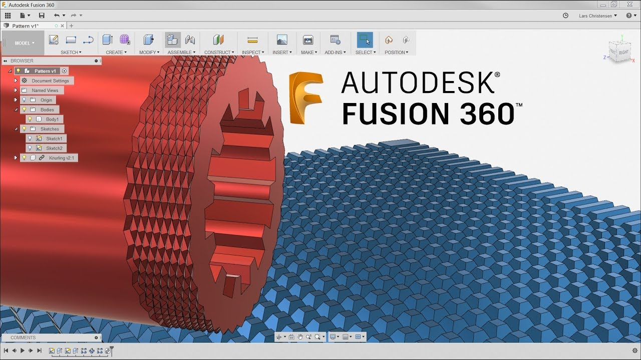 Create Cool Patterns & Knurling for 3D Printing — Fusion 360 Tutorial —  #LarsLive 116