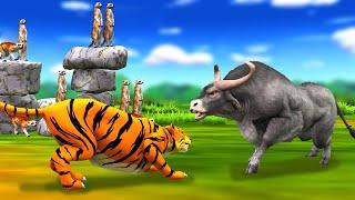 चतुर नेवला और भूखा बाघ और तीन भैंस Clever Mongoose Hungry Tiger and Three Bulls Hindi Kahaniya