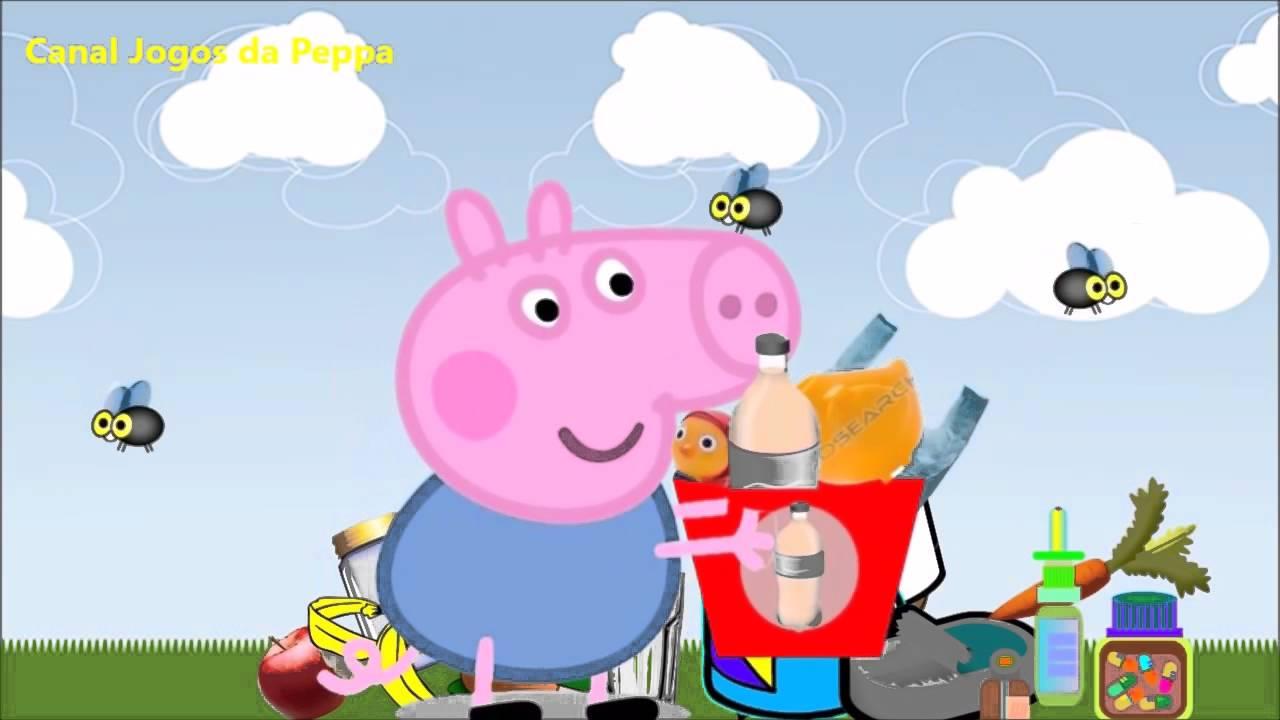 peppa pig coleta seletiva de lixo e reciclagem para crianças desenho