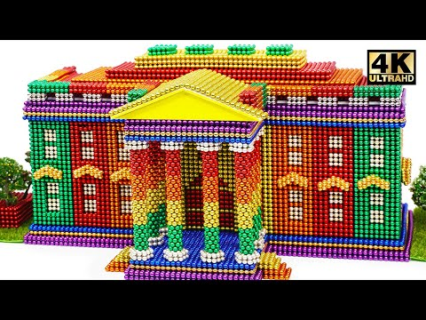 DIY - How To Build Rainbow White House From Magnetic Balls ( Satisfying )   Magnet World 4K