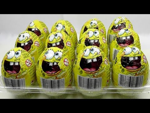 12 SPONGEBOB Chocholate Surprise Eggs Unboxing