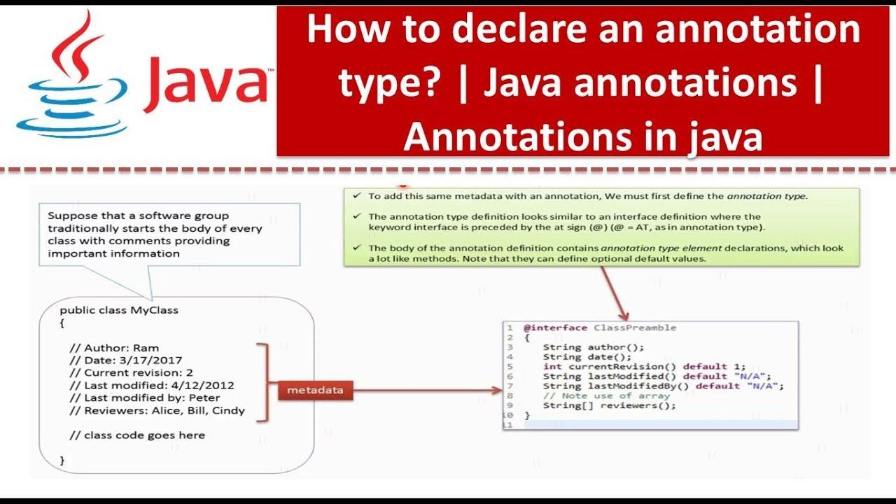 Java tutorial annotations in java java annotations how to java tutorial annotations in java java annotations how to declare an annotation type ccuart Choice Image