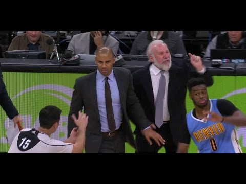 Emmanuel Mudiay helps refs EJECT Popovich | Spurs vs Nuggets