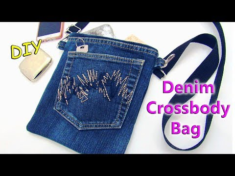 DIY Bag Purse From Old Jeans - Recycling No Sew Denim Crossbody Bag - Old Jeans Crafts Tutorial