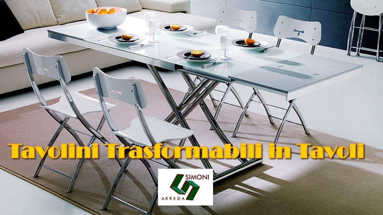 Tavolini trasformabili in tavolo by simoni arreda youtube for Lideo arreda