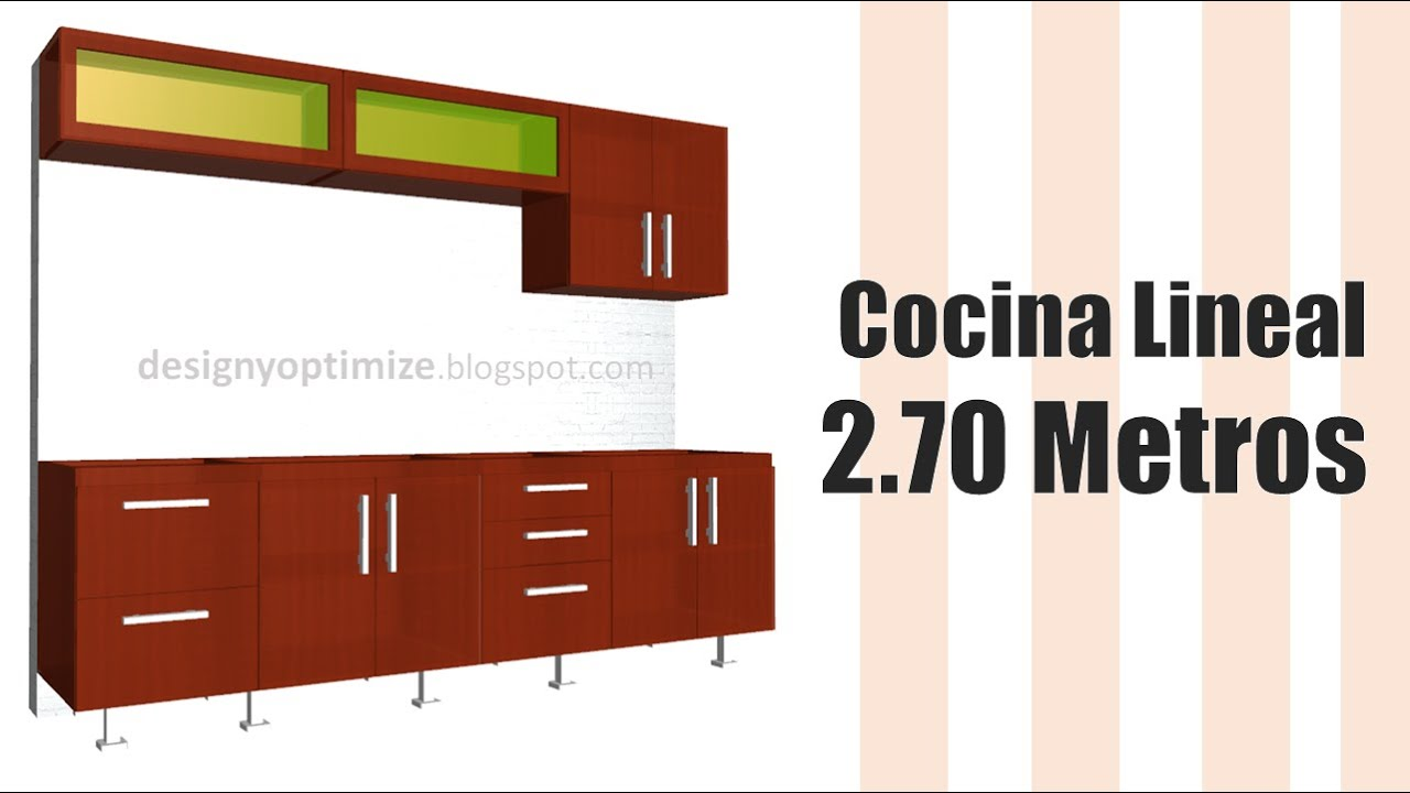 Fabricando cocina lineal de 2 70 metros dise o 3d y planos for Cocina 3 metros lineales