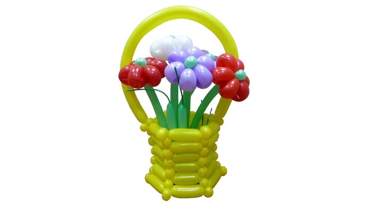 Корзина для цветов из воздушных шаров (ШДМ)