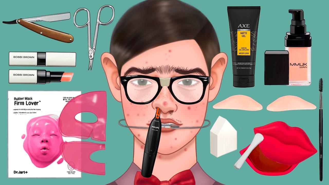 메이크업ASMR | 너드학생이 학교 최고 인기 남학생이 된다면 |  Make-up transformation from a nerd student to a jock