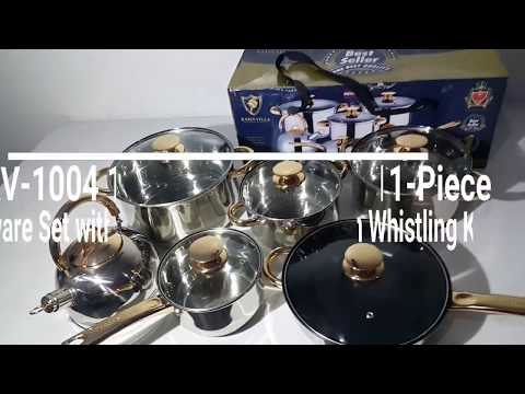 Keimav KV-1004 11-Piece Stainless Steel Cookware Set with Whistling Kettle (Gold)
