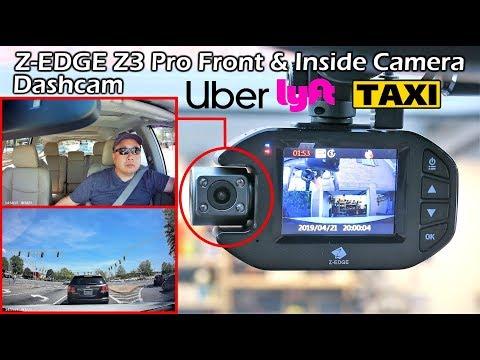 Uber Lyft Taxi Rideshare : Front & In Cabin Dashcam Z-Edge Z3Pro